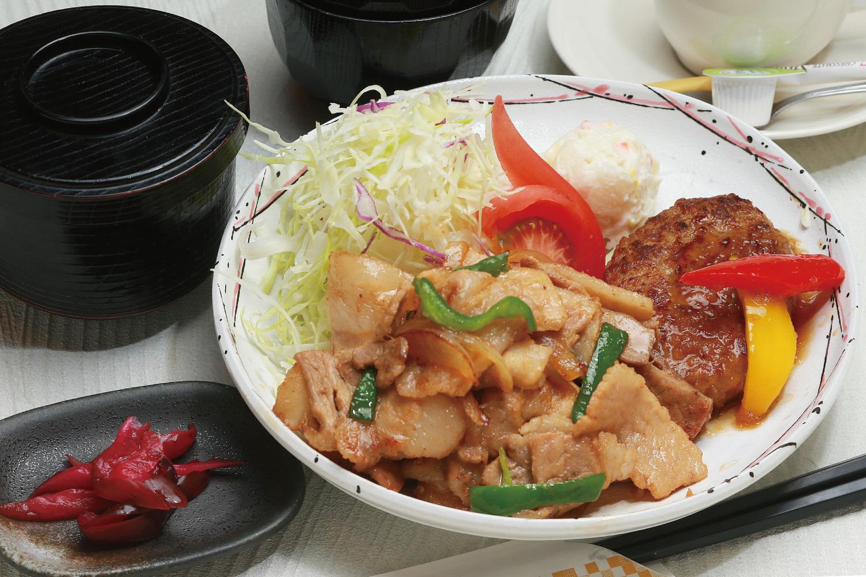 生姜焼とハンバーグのセット